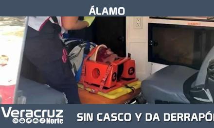SIN CASCO Y DA DERRAPÓN EN LA ÁLAMO-LA PEDRERA