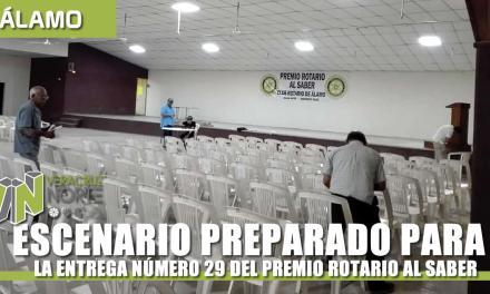 ESCENARIO PREPARADO PARA LA ENTREGA DEL PREMIO ROTARIO