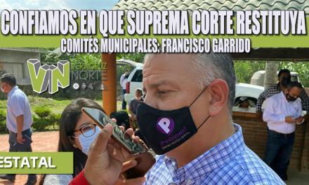 CONFIAMOS EN QUE SUPREMA CORTE RESTITUYA COMITÉS MUNICIPALES: FRANCISCO GARRIDO