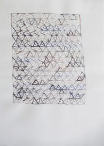 Aquarelverf op papier, zeshoek 22