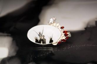 Garnet, rock crystal, topaz, vintage glass, glass, silver