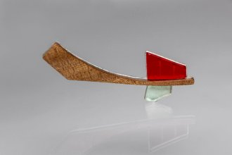 "Brooch Nr 1 from ""The Catalogue of Black Ships"" (elm, sterling silver, plexiglass, aquamarine)"