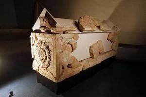 A sarcophagus is seen in Jerusalem