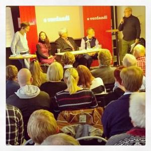 Fullsatt på Verdandis paneldebatt om Jan Edlings rapport om behovet av en ny integrationspolitik i Sverige.
