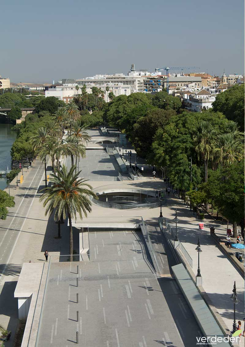 Nuevas plazas duras: Paseo Marques de Contadero en Sevilla desde Torre del Oro