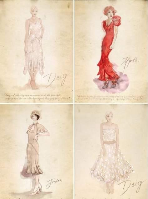 bozzetti di Catherine Martin per le donne del Grande Gatsby