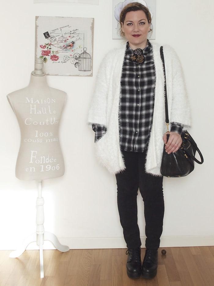 VerdementaBlog-outfit-curvy-bianco-e-nero-cardigan peloso-6