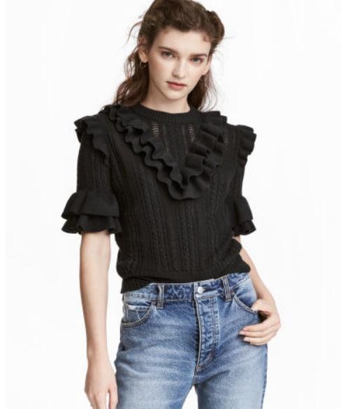 H&M - pullover maniche corte con volant