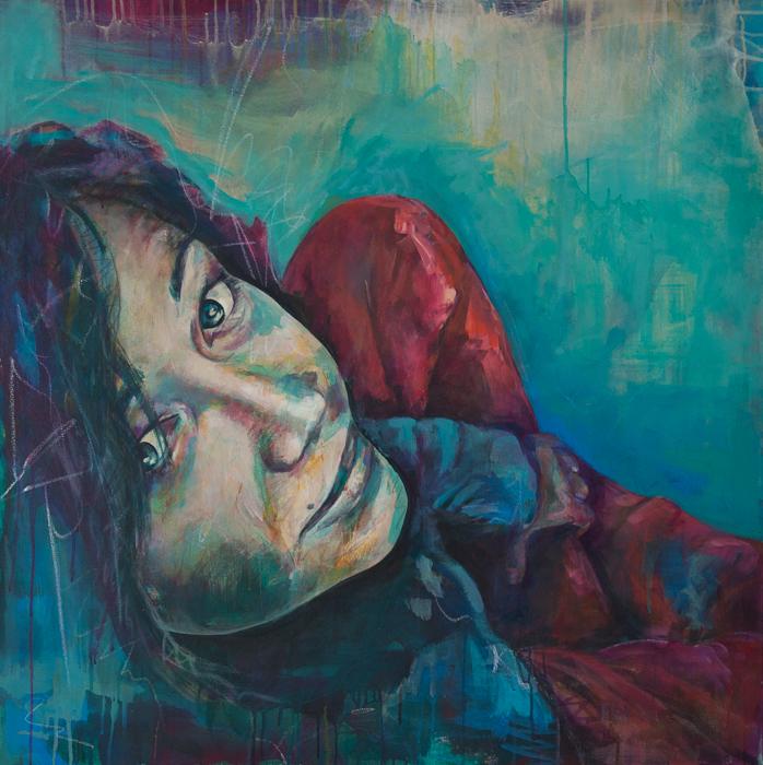 Barbara, Acryl auf Leinwand, 100x100cm