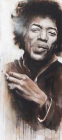 Jimi Hendrix, Acryl auf Leinwand, 100x44 cm
