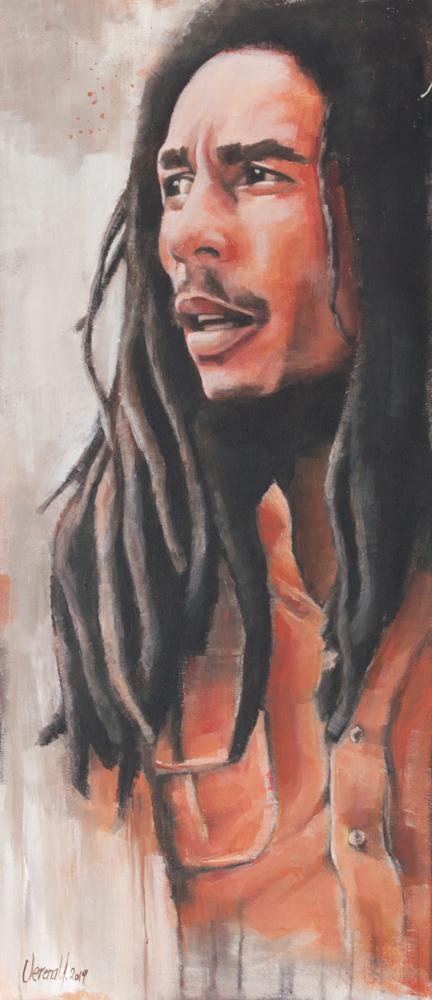 Bob Marley, Acryl auf Leinwand, 100x44 cm