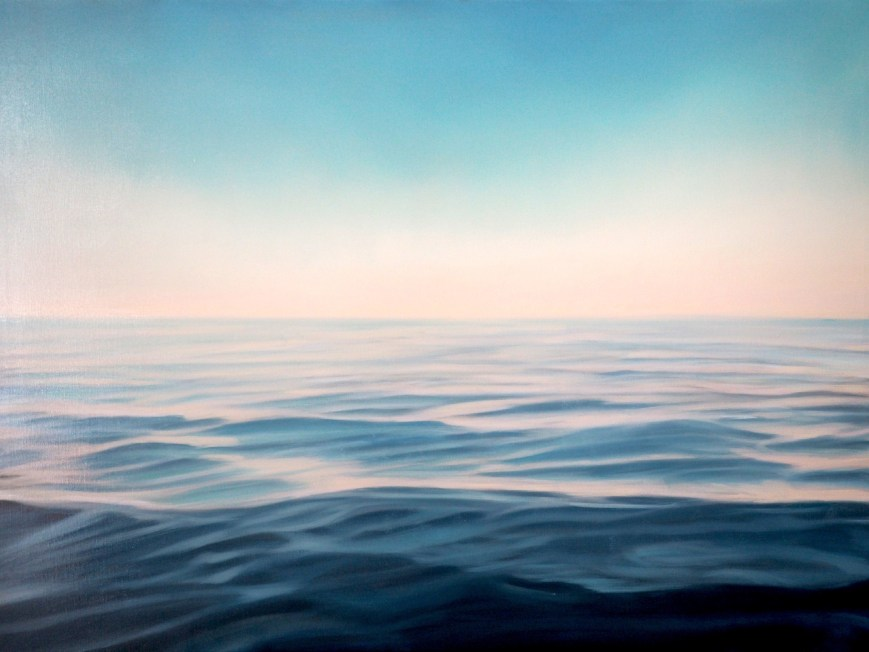 This is the third painting of artist Verena Baur. Amber relies on the smooth tough always forming water. In the background reddish light on the horizon line changes slowly into a bright blue sky. This face of the ocean that we know so much from vacations...