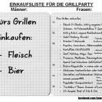 Einkaufsliste für die Grillparty