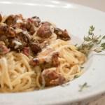 Spaghetti mit Pfifferlingen in Aioli-Sahnesauce