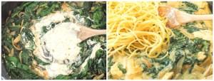 Spaghetti in cremiger Spinat-Frischkäsesauce und Hähnchenbrust