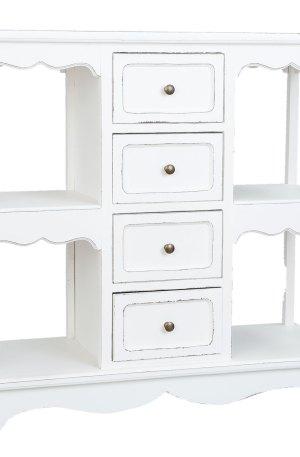 Tavolo a muro con ripiani e cassetti