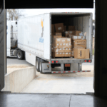 Trailer of boxes pulling in