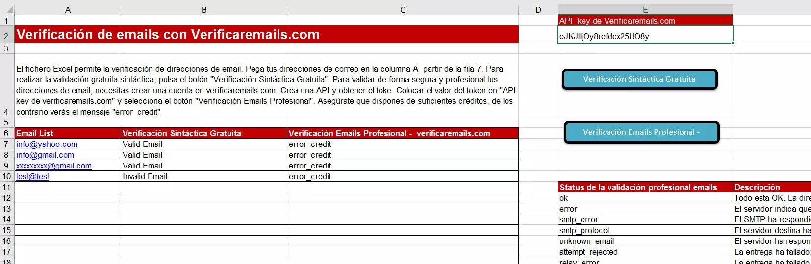 Fichero Excel verificación emails