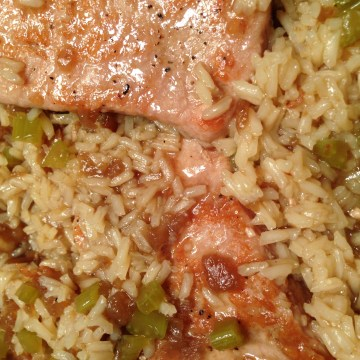 finished skillet pork chops with rice