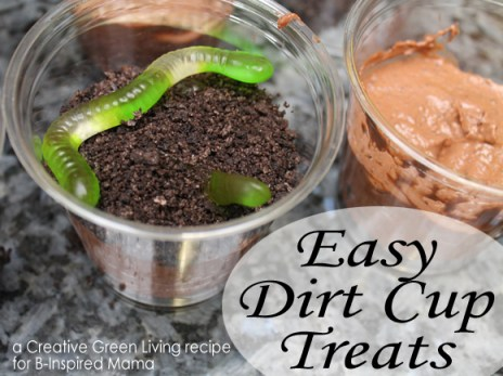 Earth Day Worms and Dirt Cup Treat from Creative Green Living at B-InspiredMama.com