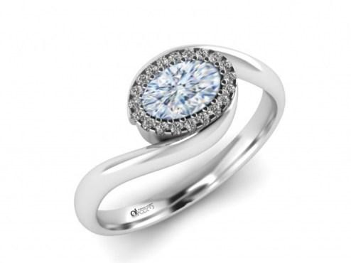 Inel de logodna, inel ATCOM Lux, inele logodna cu smarald, inele cu diamante, inel aur alb 14 kt