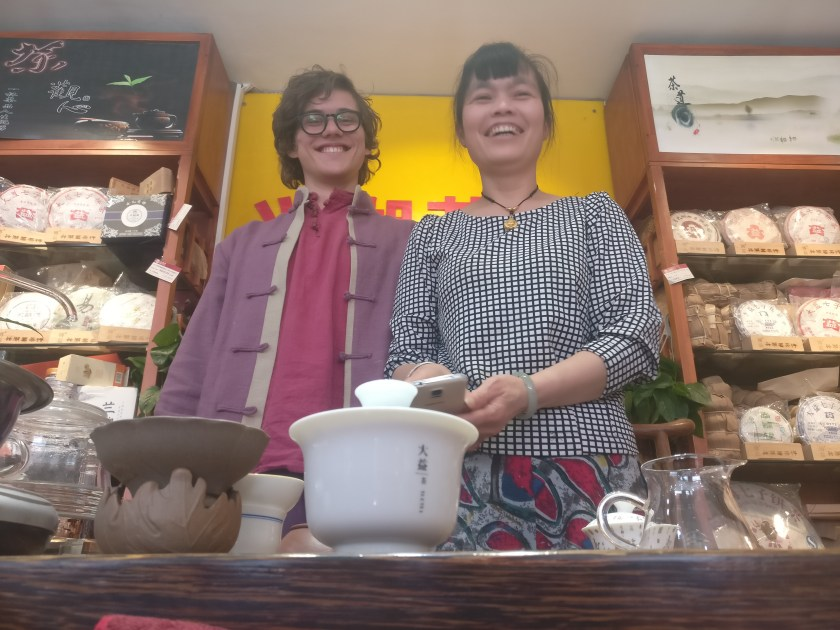 Kaj with a lovely Chinese tea shop owner