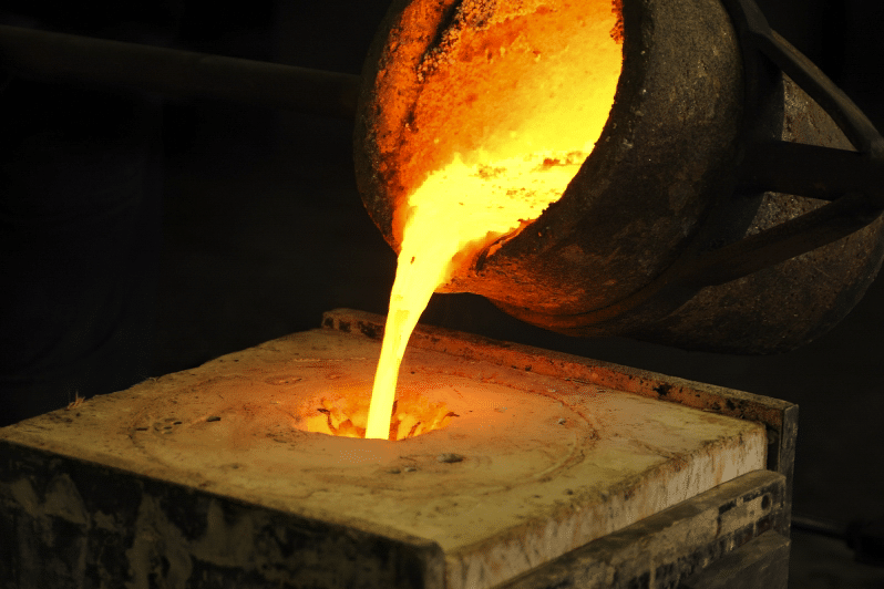 Molten gold being poured