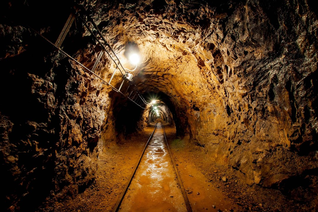 Looking down a tunnel in a mine