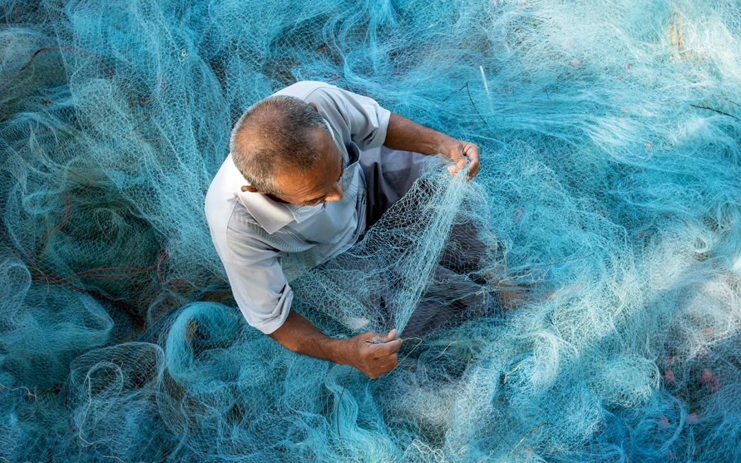 Man with fishing net