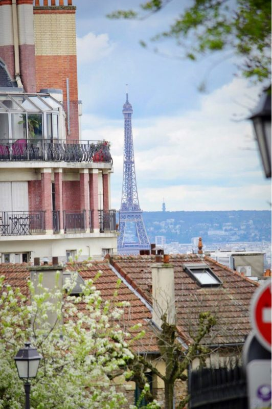 Montmartre, Paris. View of the Eiffel Tower.