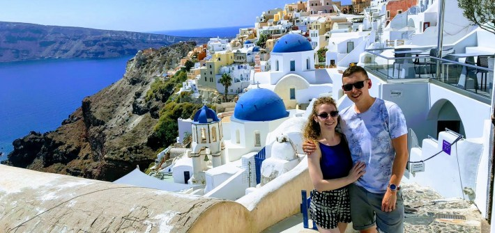 Famous Oia Three Blue Domes Church - Honeymoon Part 2 - Oia in Santorini Greece is beautiful with its pretty caldera view, sunsets, windmills and quaint pedestrian streets, we headed here for our Honeymoon Part 2! - Greek Island, Europe - Veritru