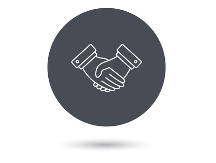 46037083 - handshake icon. deal agreement sign. business partnership symbol. gray flat circle button. orange button with arrow. vector