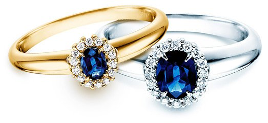 Verlobungsringe Saphir  Ring aus Diamanten um blauen Stein