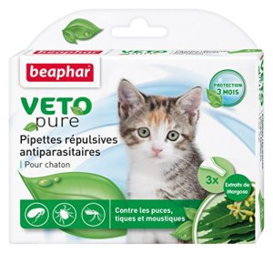Beaphar – VETOpure, pipettes répulsives antiparasitaires – chaton – 3 pipettes