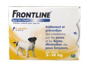 FRONTLINE Spot On Anti-parasitaire Puce et Tique pour Petit Chien de 2-10 kg- 6 Pipettes