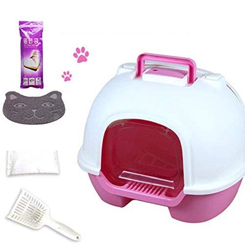 Kyman Litière for Animaux Toilette for Chat bac à litière Grande Toilette Kit de Formation Cat Cabine Double-Porte d'eau Arenero Gato Cerrado Potty Pet Products 30C48, E, L (Color : A, Size : L)