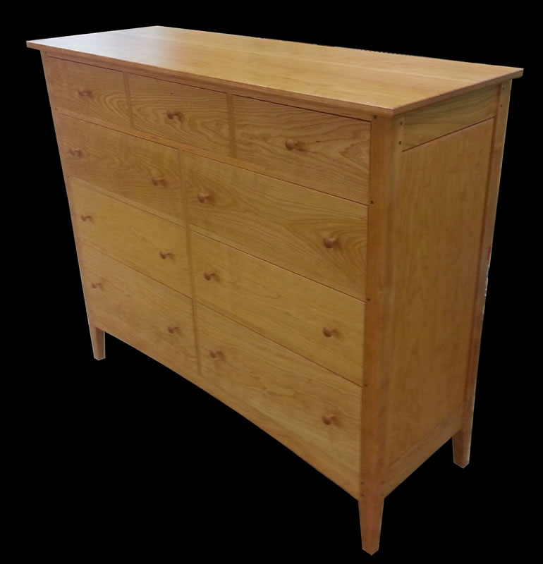Handmade Cherry 9 Drawer Double Dresser  Mission Inspired Dresser