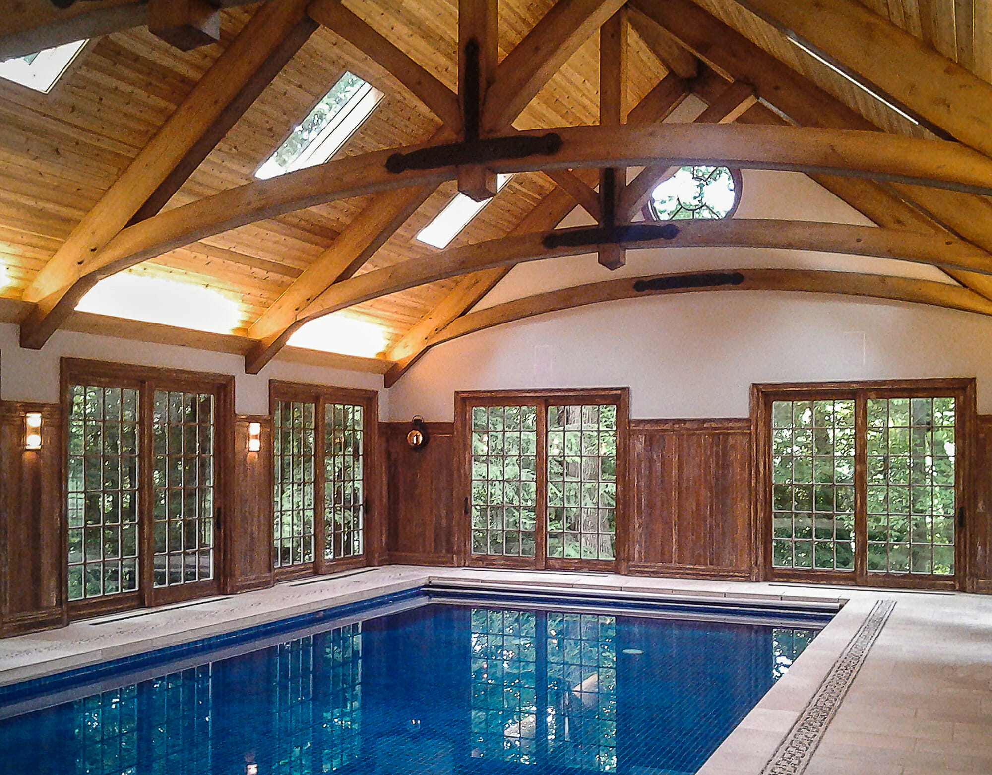 Reed Pool House  Heavy Timber Arches  King Post Trusses