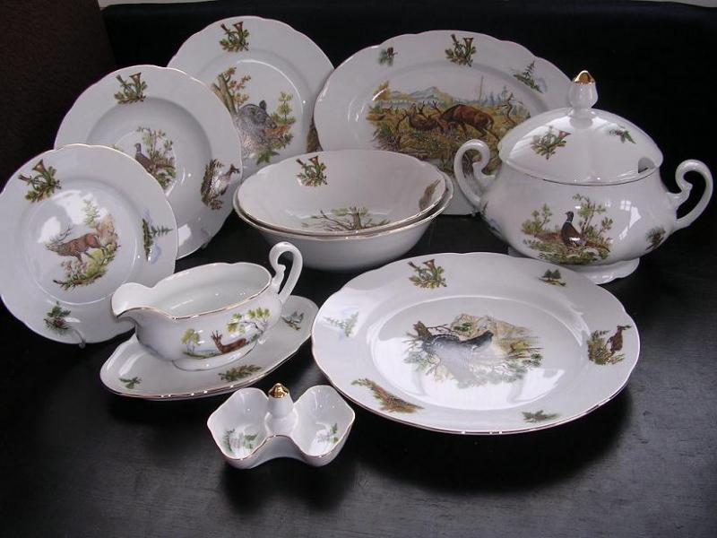 Porzellan Geschirr Mary Anne 363 25 St  Leander Louky  Jagd und Fischerei Porzellan