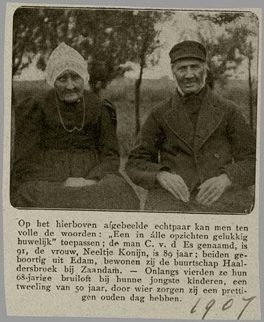 Cornelis van de Nes (er staat abusievelijk Es) en Neeltje Konijn (CBG)