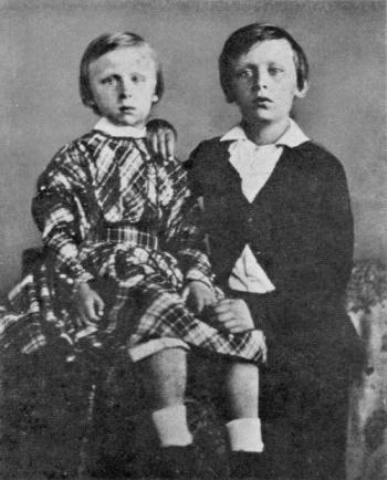 Prins Maurits en prins Willem omstreeks 1846