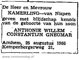 Geboorteadvertentie Antonie Kamerling (CBG)