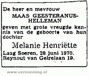 Geboorteadvertentie Melanie Schultz van Haegen-Maas Geesteranus (CBG)