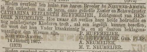 Overlijdensadvertentie Catharina Elizabeth Huffmeijer (Algemeen Handelsblad, 17 januari 1867)