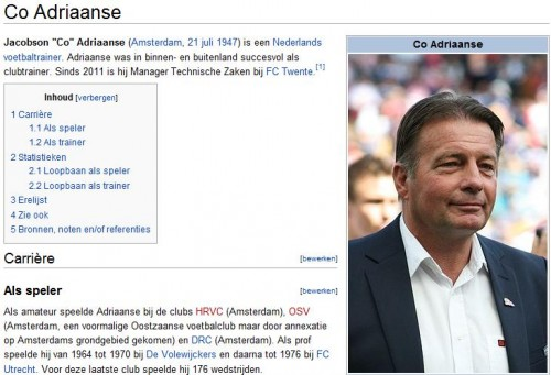 Co Adriaanse op Wikipedia (foto: Jacktd, CC ASA 3.0 AT)