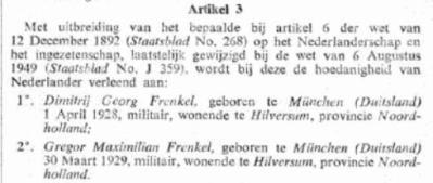 Naturalisatie Dimitrij Georg Frenkel en Gregor Maximilian Frenkel