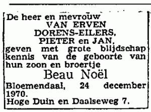 Geboorteadvertentie Beau van Erven Dorens (CBG)