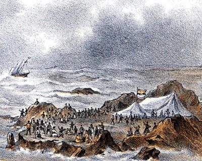 Verblijf der schipbreukelingen op de Lucipara-eilanden (J.C.J. Smits, 1885)