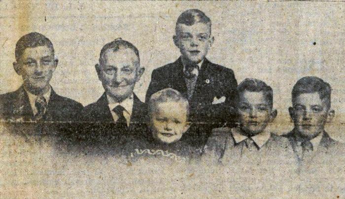 Evert Hettinga met zijn kleinzoons Evert Hettinga, Evert Hettinga, Evert Hettinga, Evert Heida en Evert Bilijam (De Heerenveensche Koerier, 9 december 1948)