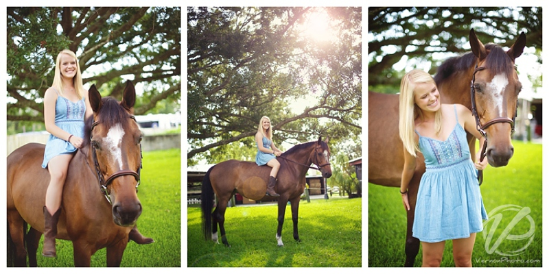 Awesome outdoor senior portraits with a high school senior and her horse! Senior portraits by Vernon Photography in and around St Petersburg, Largo, Pinellas, Seminole, Clearwater and Tampa - Florida.